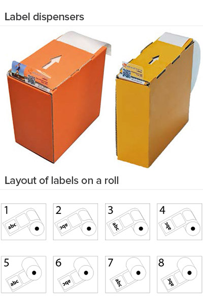 labels on a roll and label dispensers